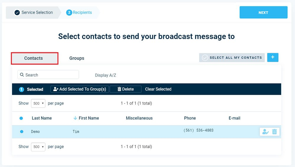 Add Individual Contacts To Broadcast - Version 3