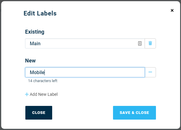 Add New Labels - DialMyCalls