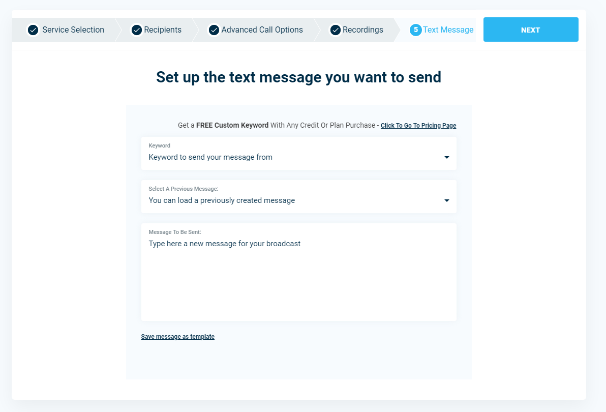 Create Text Message - DialMyCalls Version 3.0