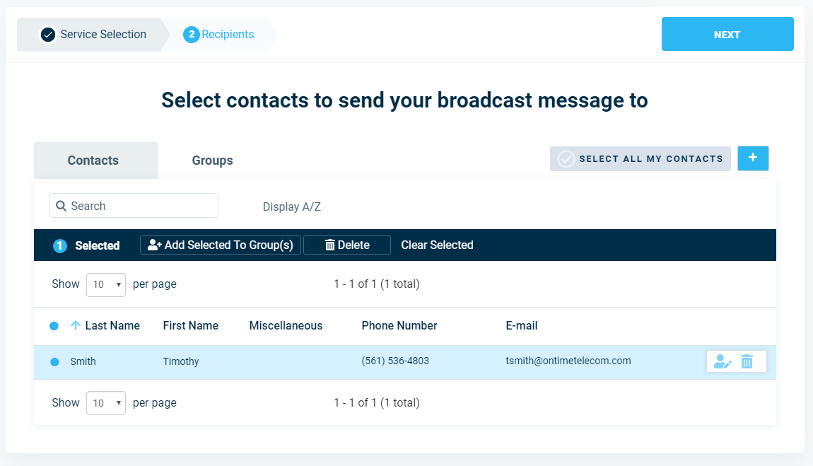 Select Contacts - DialMyCalls Version 3.0